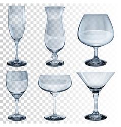 Set of empty transparent glass goblets vector image