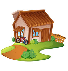 wooden house on the hill vector image