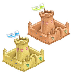 Childrens sand castle tower of the fort with flag vector
