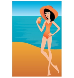 young woman holds a sun-protection cream vector image vector image