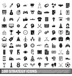 100 strategy icons set simple style vector