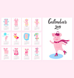 12 calendar cards with funny pigs for each month vector image