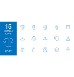 15 coat icons vector image
