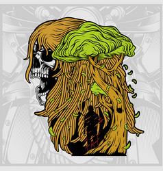 A womans skull with a tree vector