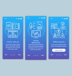 Affiliate marketing blue onboarding mobile app vector