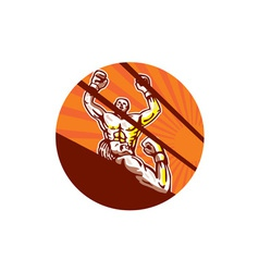 Amateur boxer winning circle cartoon vector