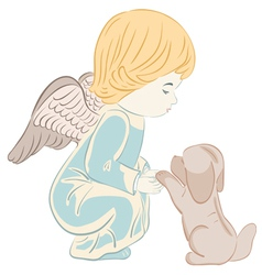 Angel and Puppy vector image