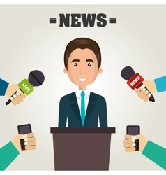 Avatar man and news microphones vector