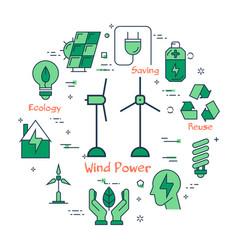 banner of alternative clean energy - wind power vector image