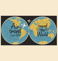 Banner on theme air travel with world map vector