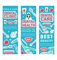 Banners of dental health clinic treatments vector