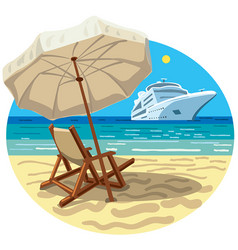 beach resort and cruise ship vector image