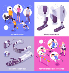 bionic prosthesis isometric concept vector image