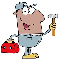 Black Repair Man With Tools vector image