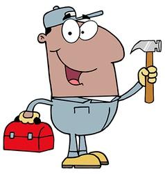 Black repair man with tools vector