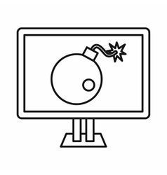 Bomb on computer monitor icon outline style vector image