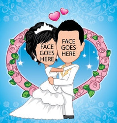 bride and groom template vector image