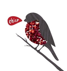Bullfinch Sitting on Ashberry Twig Saying Chirp vector