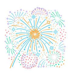 Bursting fireworks and stars vector