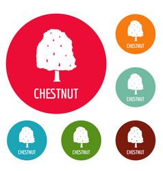 chestnut tree icons circle set vector image
