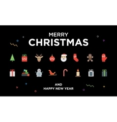 Christmas Greeting Card with lettering icons and vector image
