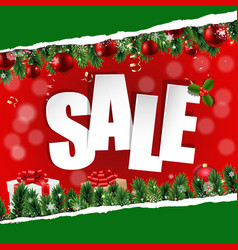 christmas sale banner with ripped paper vector image