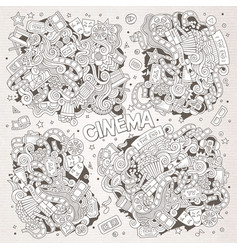 Cinema movie film doodles sketchy designs vector
