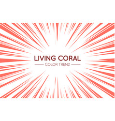 coral trendy color sun rays or explosion boom vector image