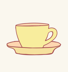 cup coffee tea hand drawn style doodle vector image