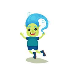 Cute happy boy troll with blue hair and green skin vector