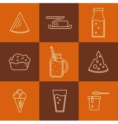 Dairy icon set in line style design vector image
