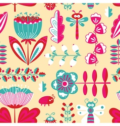 Decorative seamless background with flowers bugs vector