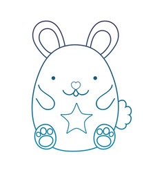 Degraded outline cute male mouse animal with star vector