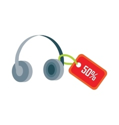 Earphones with Red Sale Tag Fifty Percent Discount vector image