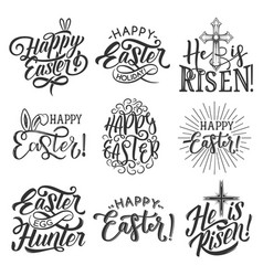 easter holiday badge of egg rabbit ear and cross vector image
