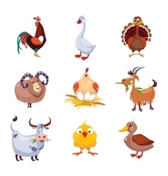 farm animal and birds set vector image