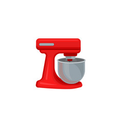 flat icon of red dough mixer with stainless vector image