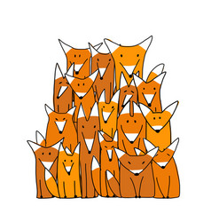 foxes big family sketch for your design vector image