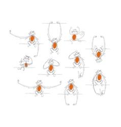 Funny monkeys sketch for your design vector