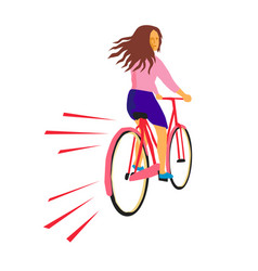 Girl riding vintage bicycle retro vector