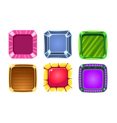 glossy squares set colorful buttons game user vector image