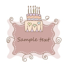 Hand drawn cute birthday invitation with cake vector
