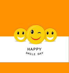 Happy smiley day concept background flat style vector