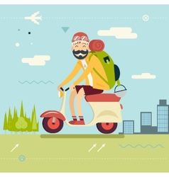 Happy Smiling Man Geek Hipster with Traveler vector image