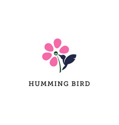 Humming bird logo flower and bird logo template vector