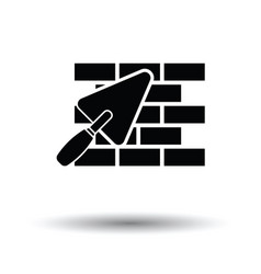 Icon of brick wall with trowel vector