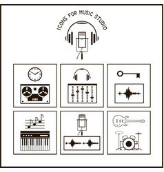 icons for music studio cut files vector image
