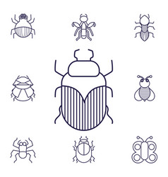 Insects linear icons set winged animal small vector