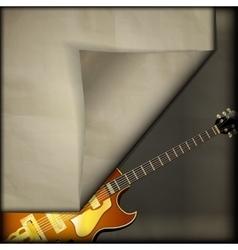 jazz guitar with old paper background vector image
