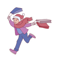 kid boy in winter clothes vector image